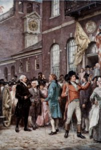 George Washington arriving at Congress Hall in Philadelphia for his second innauguration, March 4, 1793.
